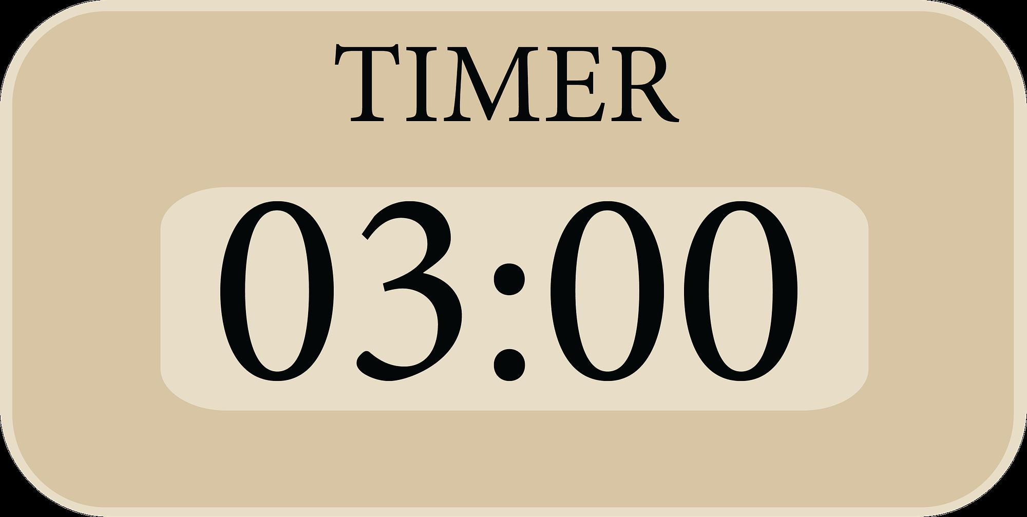 Timer zeigt drei minuten